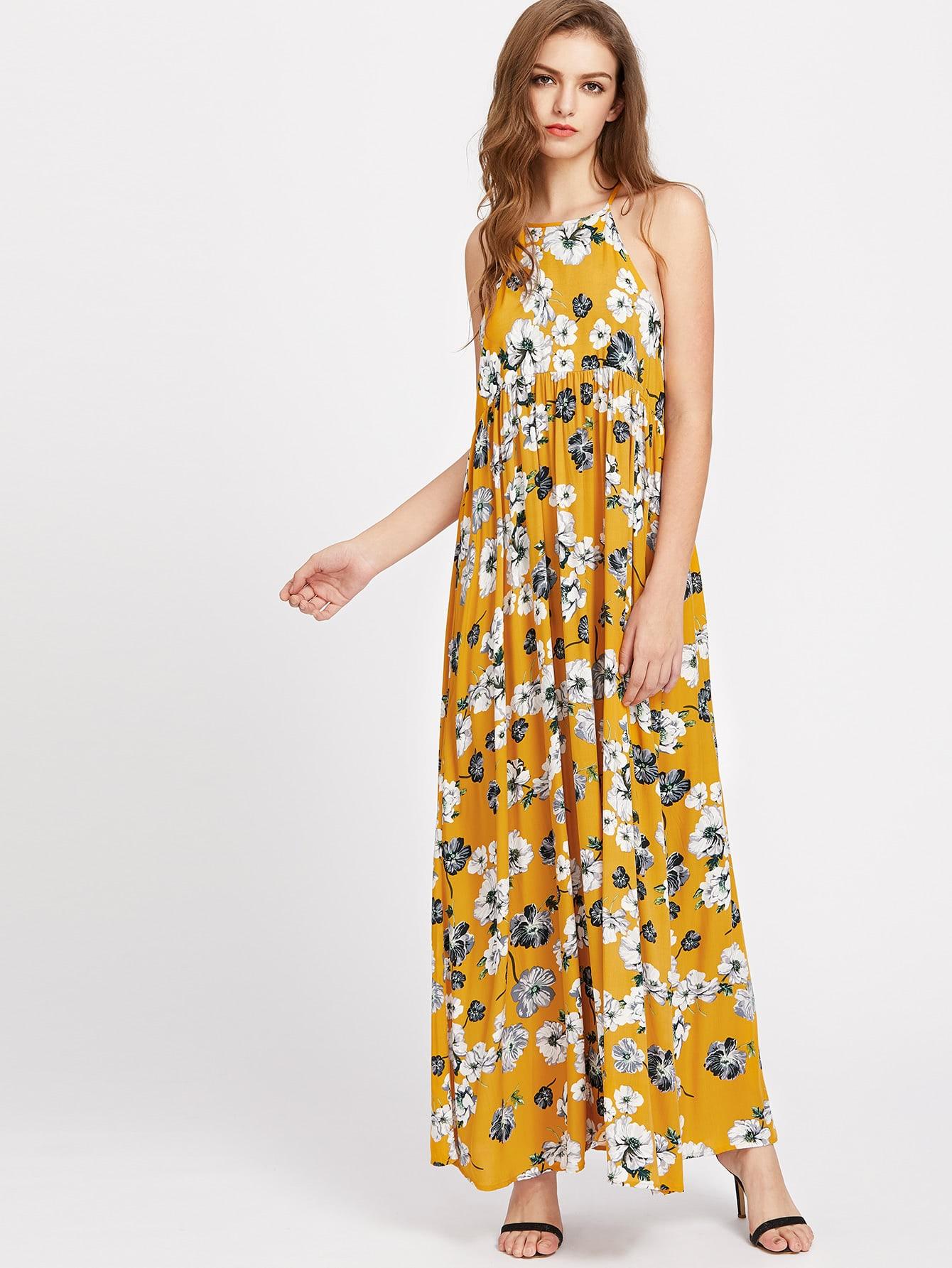Фото Split Back High Waist Botanical Dress. Купить с доставкой