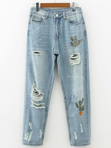 Ripped Detail Full Length Jeans