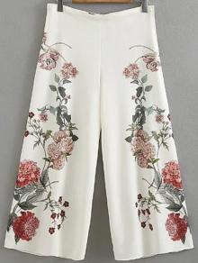 Pantalones palazzo con estampado de flor