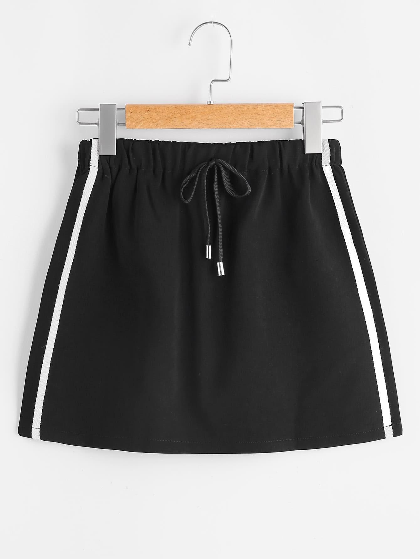Фото Side Stripe Tube Drawstring Skirt. Купить с доставкой