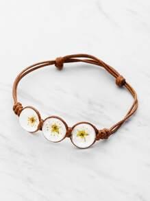 Brazalete con flor de cristal