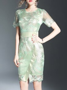 Green Gauze Flowers Embroidered Dress