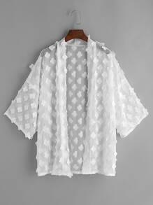 Application de kimono transparent avec fleurs - blanc