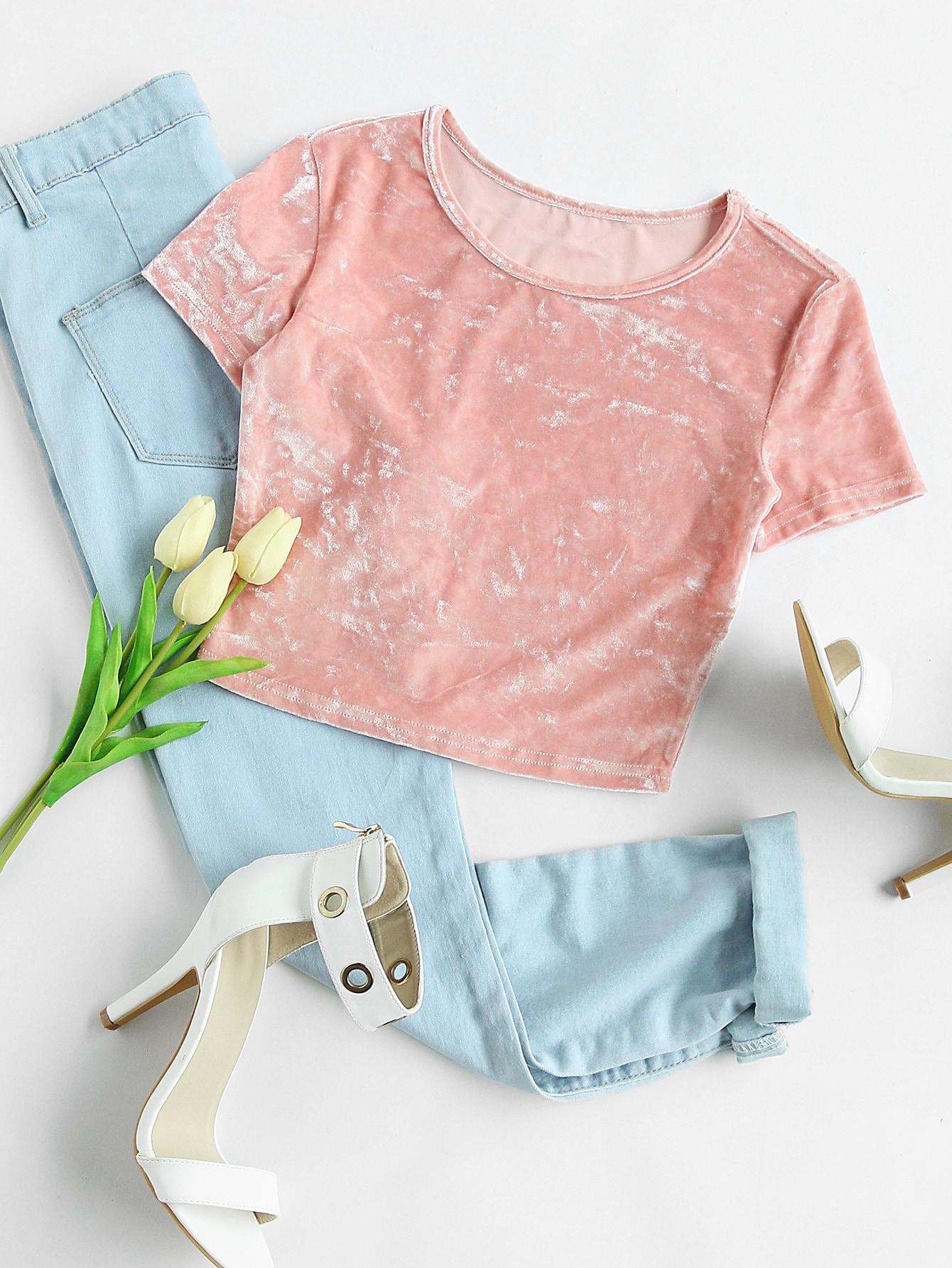 Slim Fit Crop Crushed Velvet Tee футболка wearcraft premium slim fit printio шварц