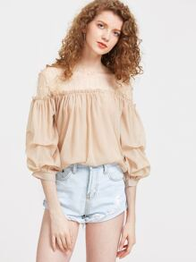 Contrast Embroidered Mesh Lantern Sleeve Top