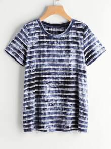 Camiseta con estampado de tie dye de manga corta a rayas - marino