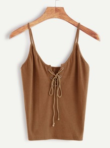 Eyelet Lace Up Front Cami Top