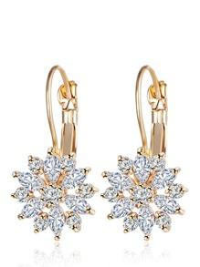Rhinestone Flower Hoop Earrings
