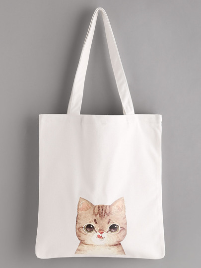 Cat Print Linen Tote Bag