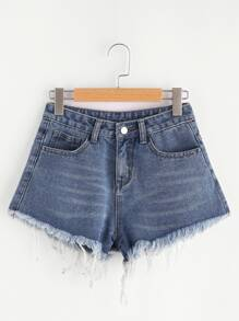 Shorts en denim de borde crudo con 5 bolsillos