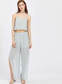 Striped Crop Cami Top With Split Wrap Pants