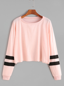 Rosa Varsity manica a righe Crop T-shirt