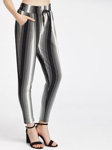 Pinstripe Drawstring Waist Peg Leg Pants