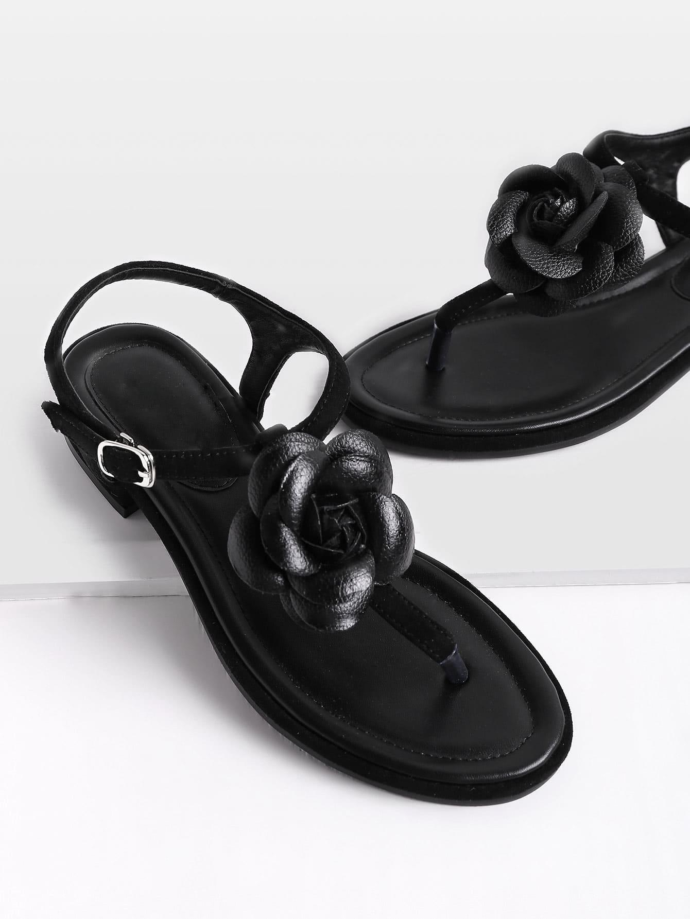 Фото Flower Detail Toe Post Sandals. Купить с доставкой