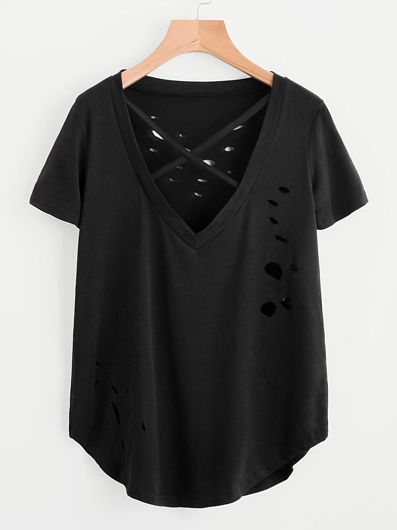 V Neckline Criss Cross Ripped Tee thumbnail