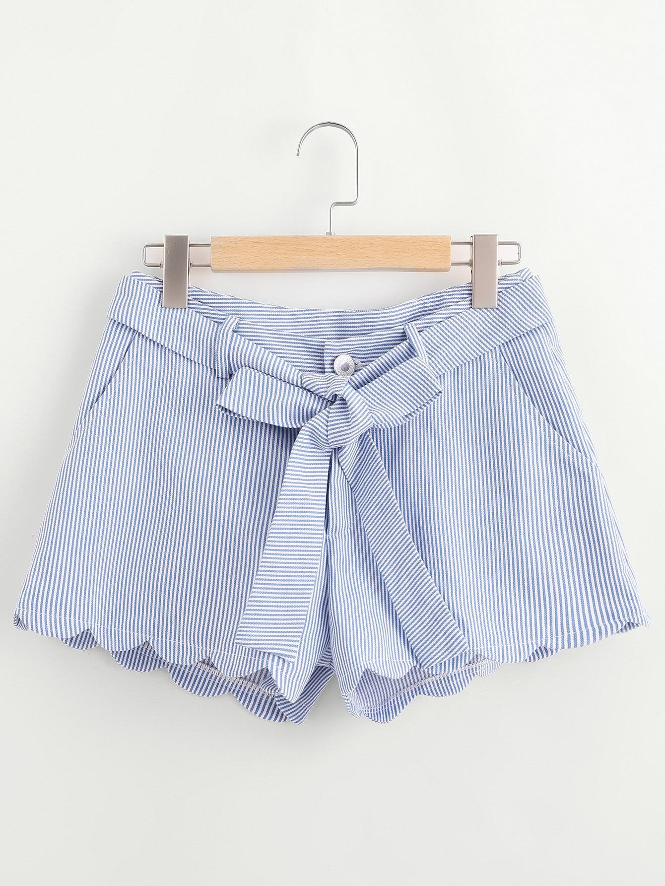 Фото Scallop Edge Self Belt Striped Shorts. Купить с доставкой