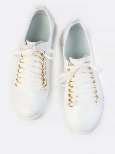 Lace Up Chain Link Sneakers WHITE