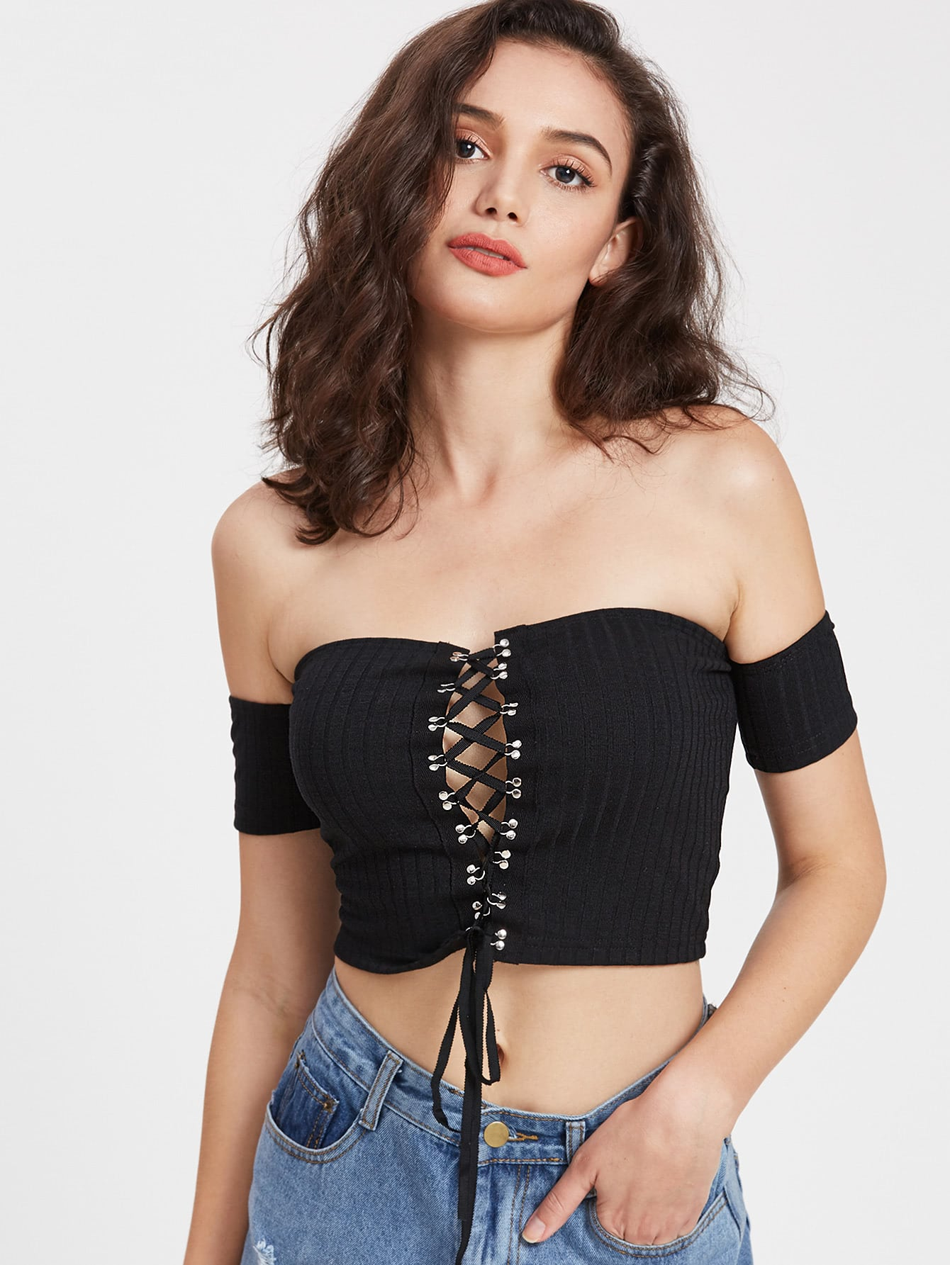 Lace Up Off Shoulder Ribbed Crop T-shirt blue off the shoulder lace up front denim crop top
