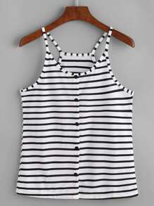 Pinstripe Button Front Cami Top
