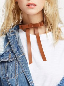 Bow Tie Front PU Choker Necklace
