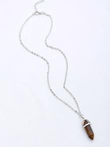 Contrast Stone Pendant Chain Necklace