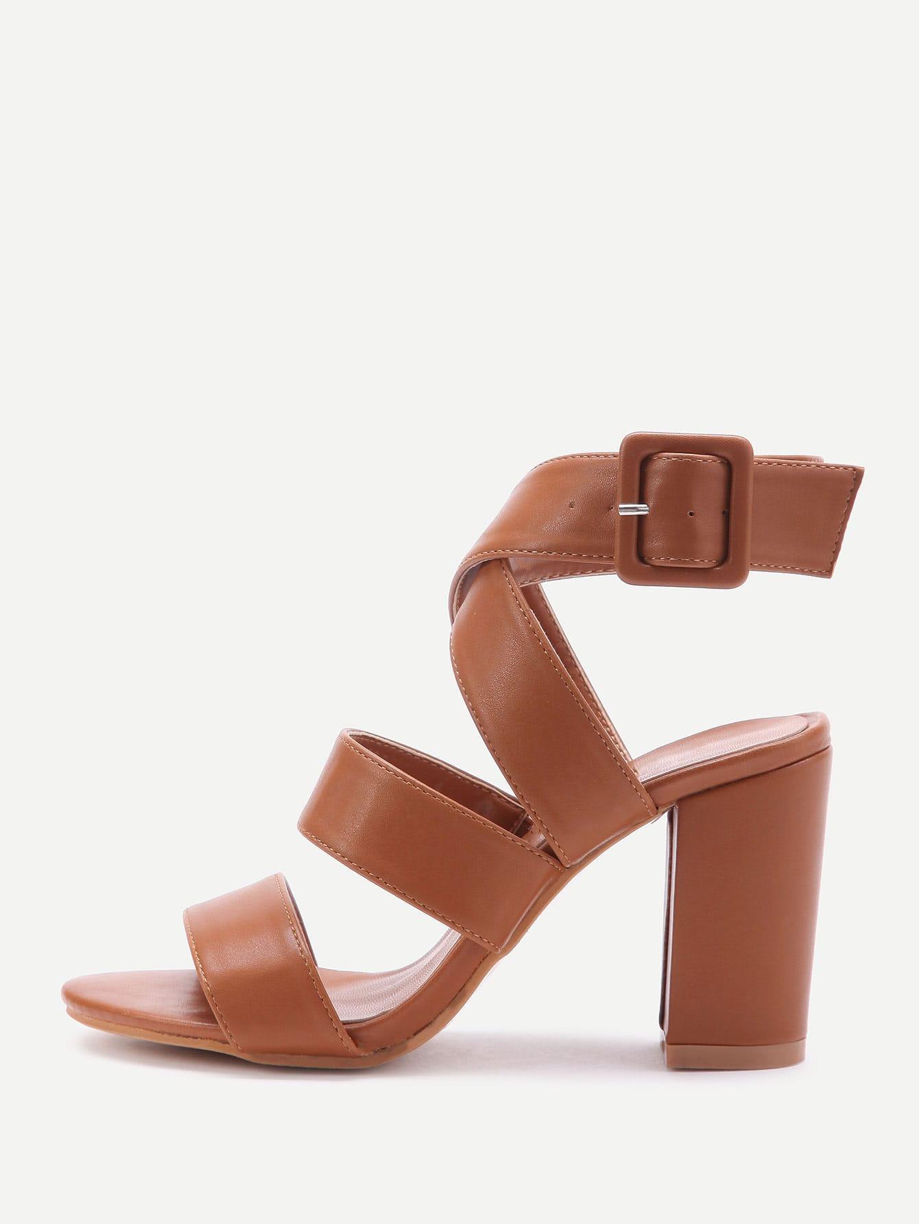 Купить Модные кожаные сандалии на каблуках, null, SheIn