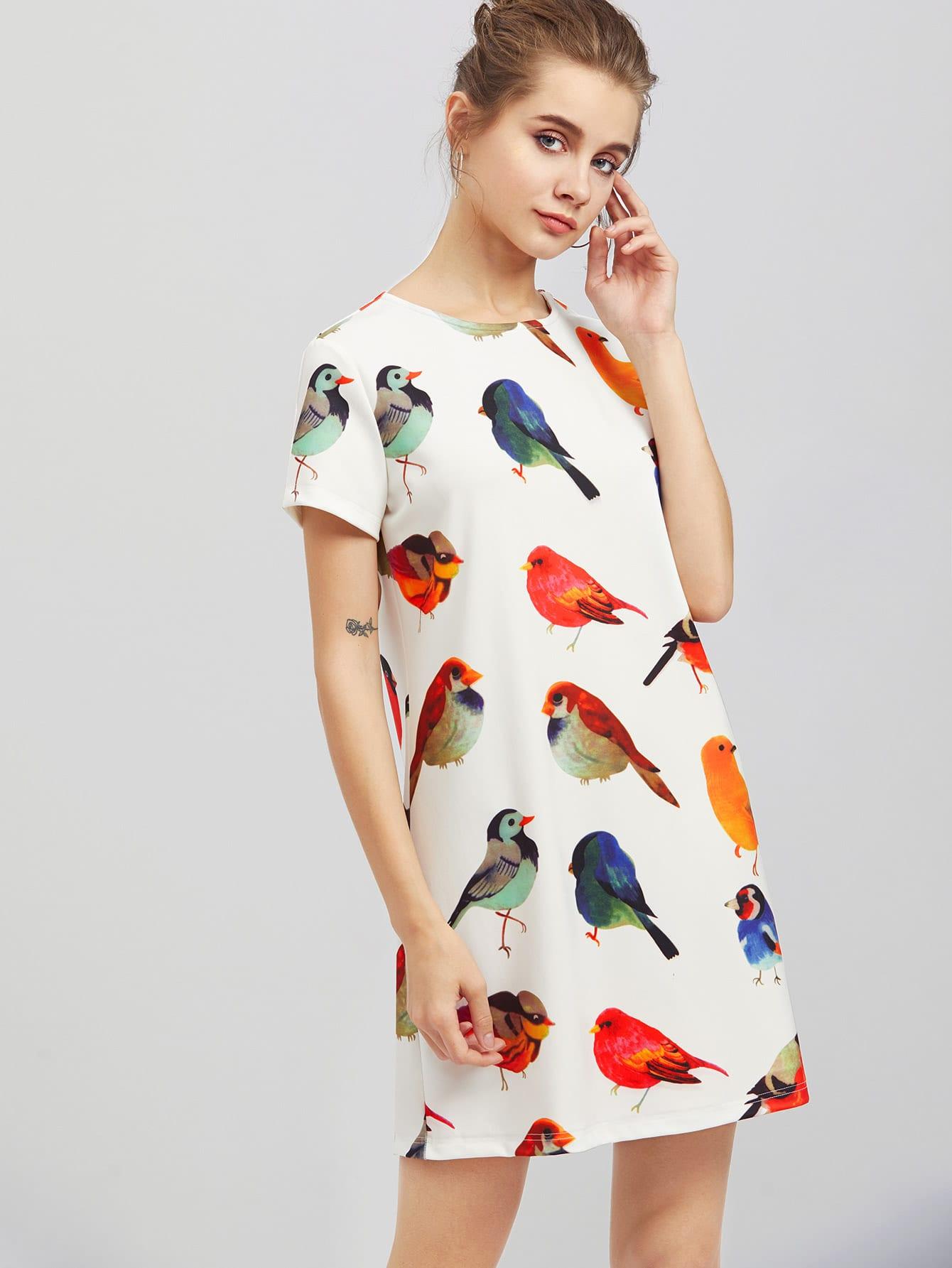 Allover Bird Print Dress allover bear print dress