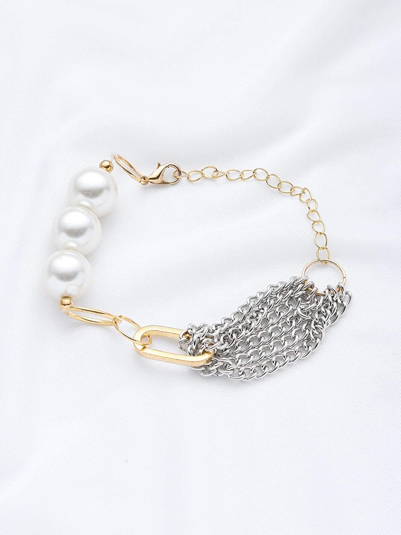 Фото Contrast Faux Pearl Chain Bracelet. Купить с доставкой