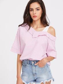 Asymmetrical Cold Shoulder Pinstripe Top