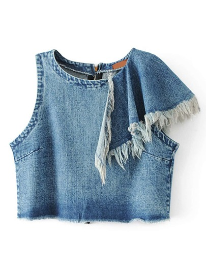 Asymmetrical Shoulder Frayed Detail Denim Top