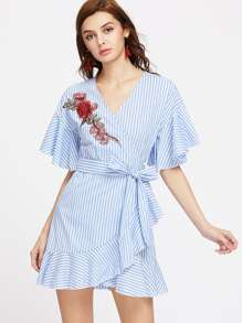 Striped Embroidered Rose Patch Ruffle Trim Surplice Belted Dress
