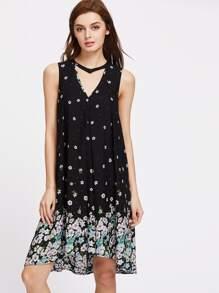 Floral Print Buttoned Cutout Choker Neck Dress