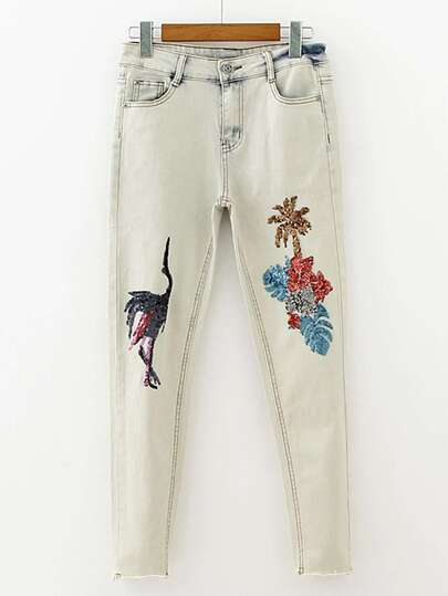 Sequin Detail Jeans In Light Bleach Wash