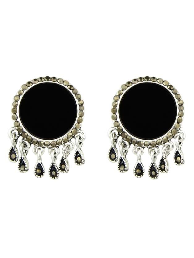 Фото Black Color  Big Round Ear Stud Earrings. Купить с доставкой