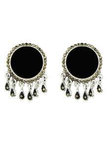 Black Color  Big Round Ear Stud Earrings