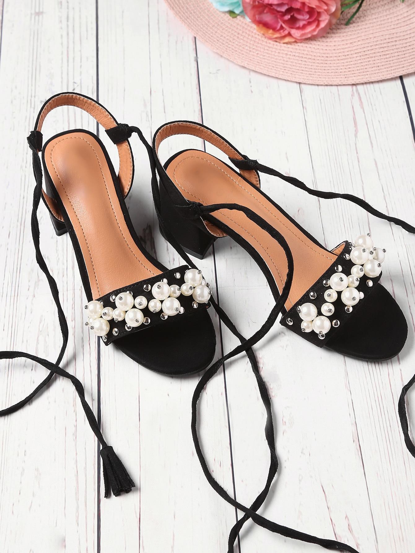 Фото Faux Pearl And Studded Decorated Lace Up Sandals. Купить с доставкой