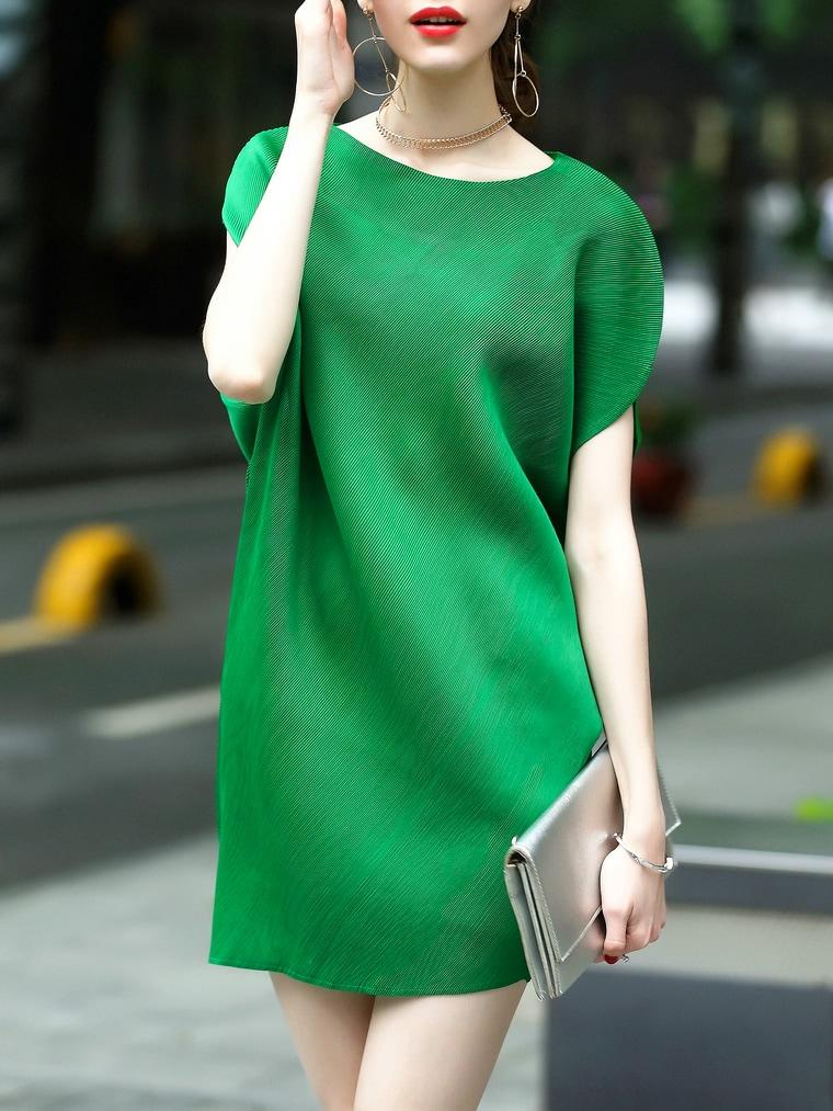 Фото Batwing Sleeve Pleated Elastic Dress. Купить с доставкой