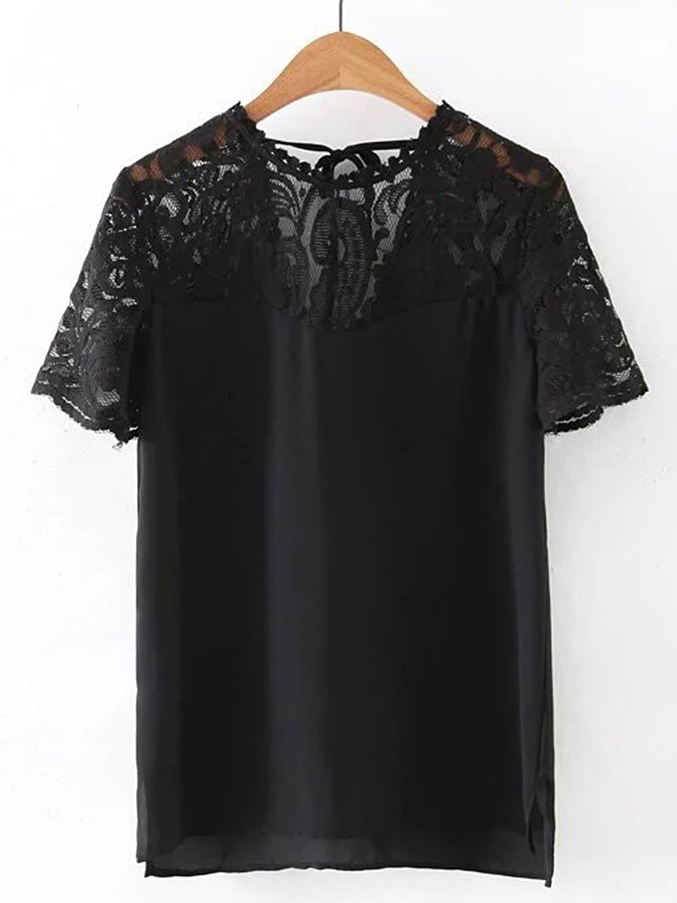 Contrast Lace Split Side Tee tee170426201