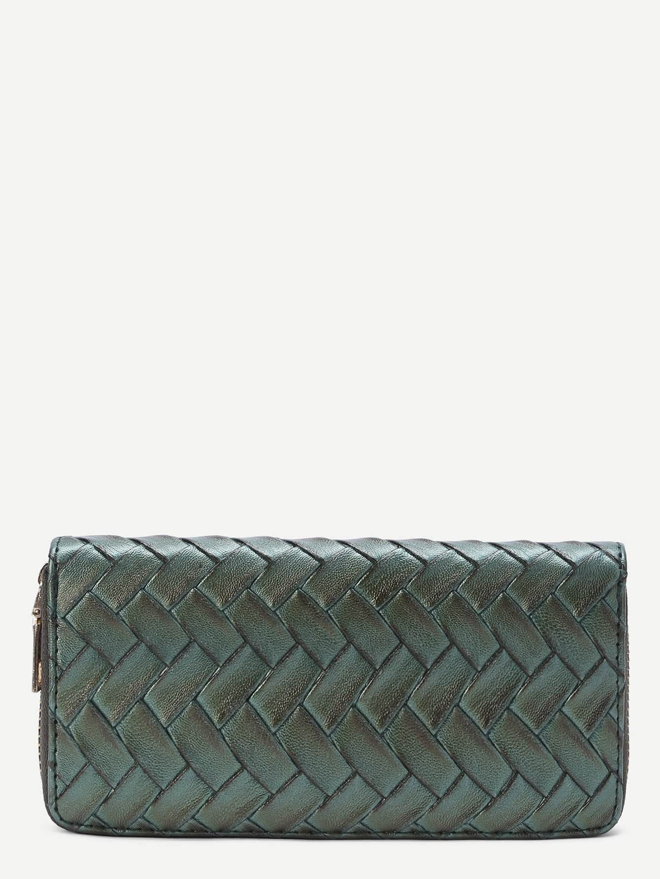 Фото Woven Faux Leather Wallet With Zipper. Купить с доставкой