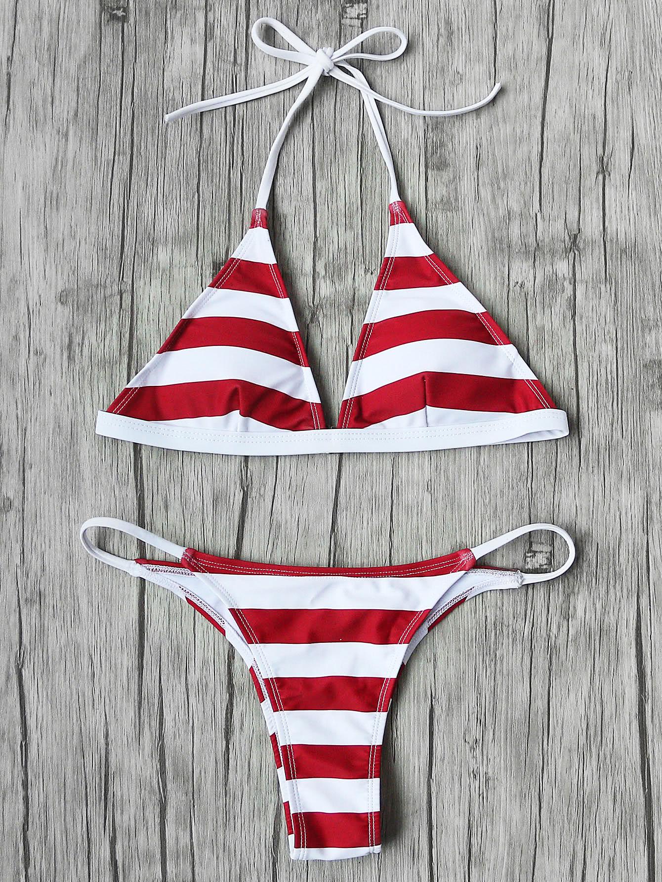 Фото Striped Halter Neck Triangle Bikini Set. Купить с доставкой