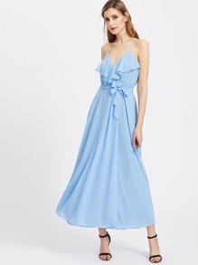 Frill Detail Self Belt Cami Dress