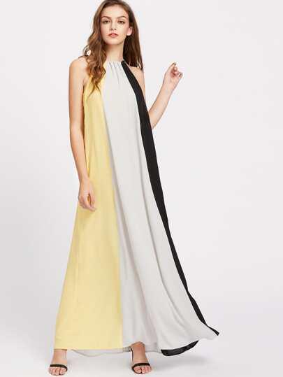 Drawstring Halter Hidden Pocket Tent Dress