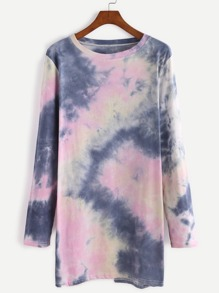 Tie Dye Long Sleeve T-shirt Dress