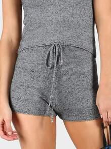 Sweater Knit Drawstring Shorts HEATHER GRAY