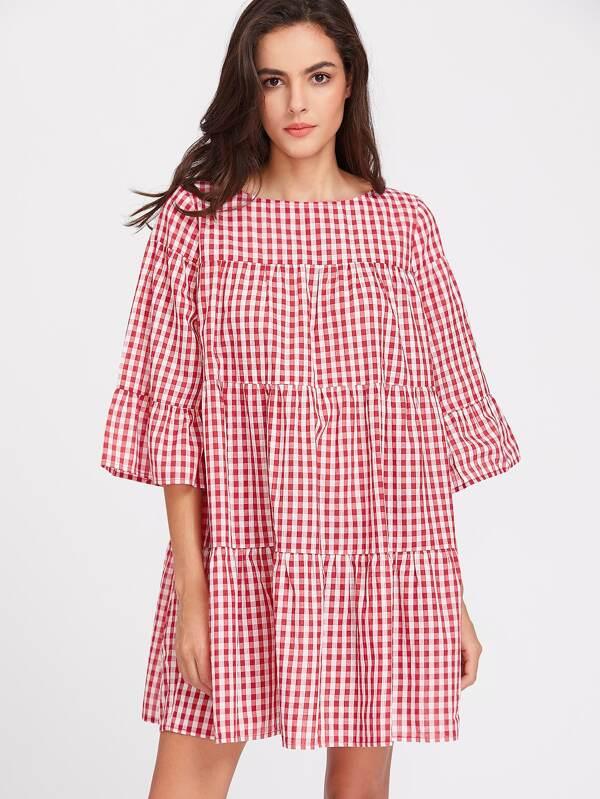 sc 1 st  SheIn.com & 3/4 Sleeve Tiered Gingham Tent Dress -SheIn(Sheinside)