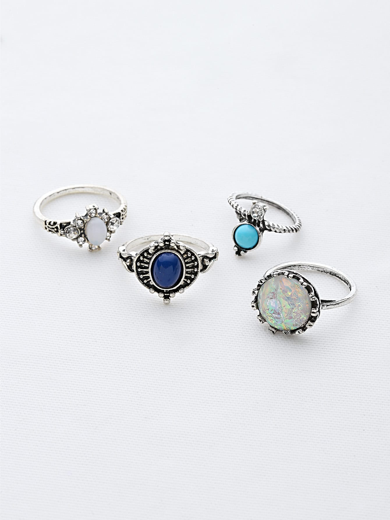 Gemstone Detail Ring Set 10pcs antique gold gemstone ring set