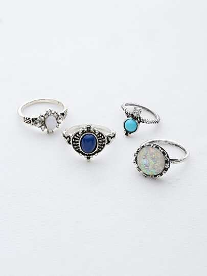Gemstone Detail Ring Set