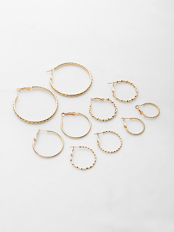 Multi Shaped Textured Hoop Earrings Set