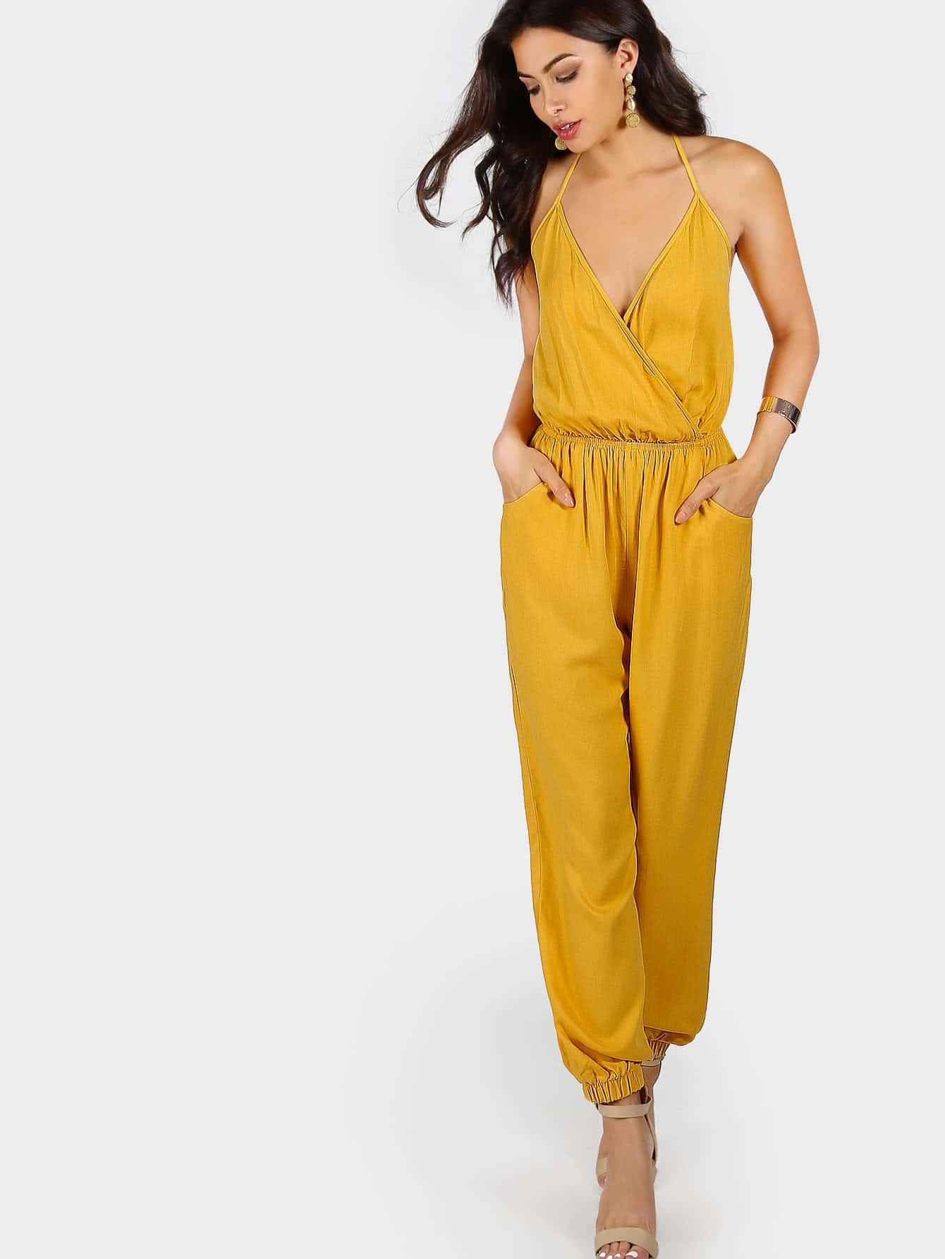 Self Tie Halter Surplice Slanted Pocket Front Tapered Jumpsuit halter surplice floral print jumpsuit