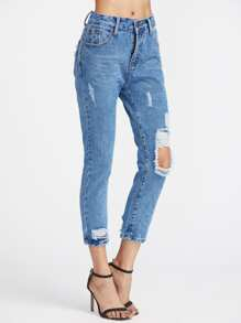Cut Out Ripped Capri Jeans